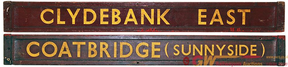 Carriage Board CLYDEBANK EAST - COATBRIDGE