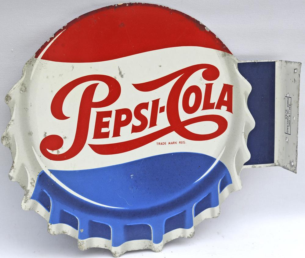 Double-Sided Pepsi Sign Dated 1955 In The Shape Of