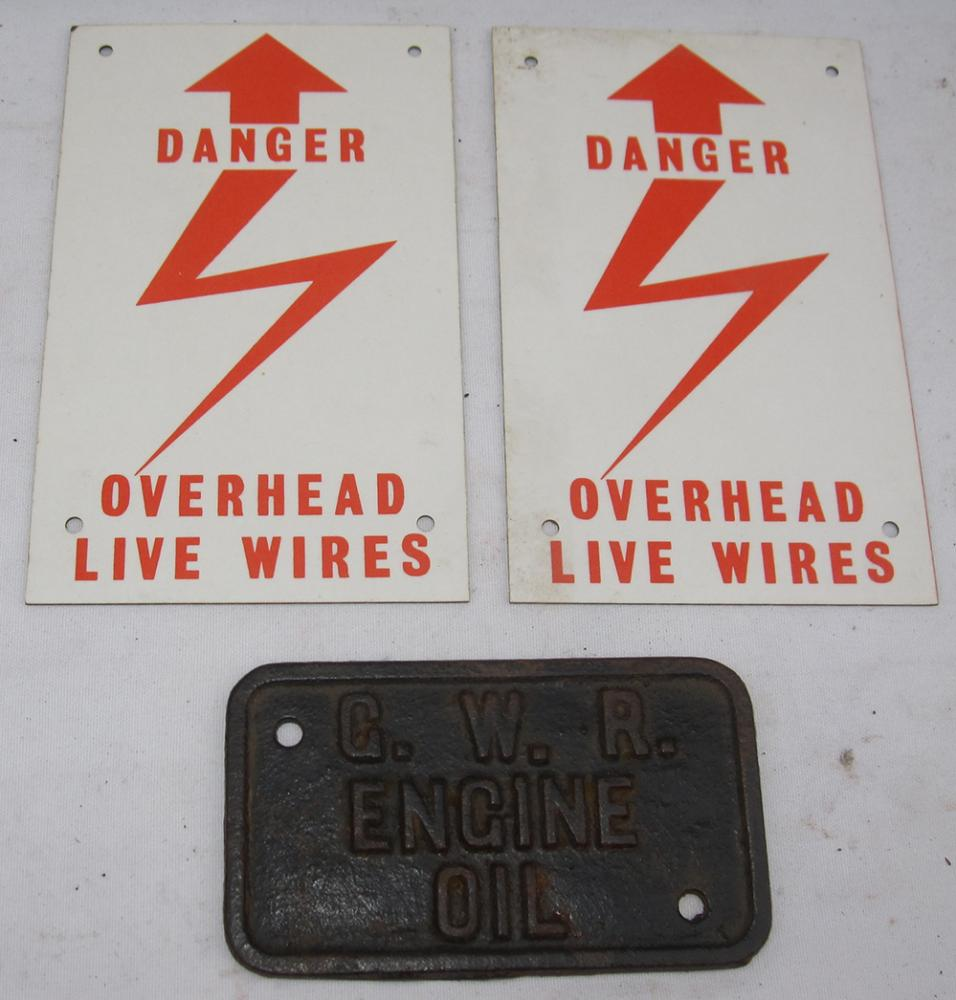 2 Loco Warning Danger Overhead Wires Signs