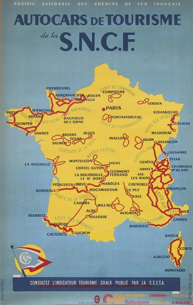 Poster SNCF AUTOCARS DE TOURISME By P.Bouvry.