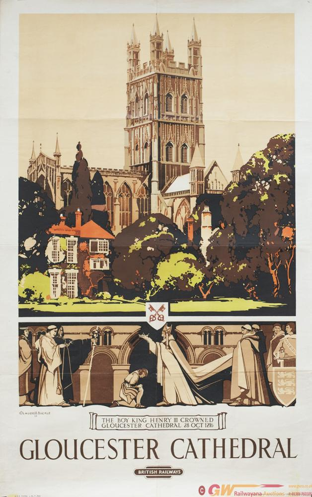 Poster BR(W) GLOUCESTER CATHEDRAL By Claude