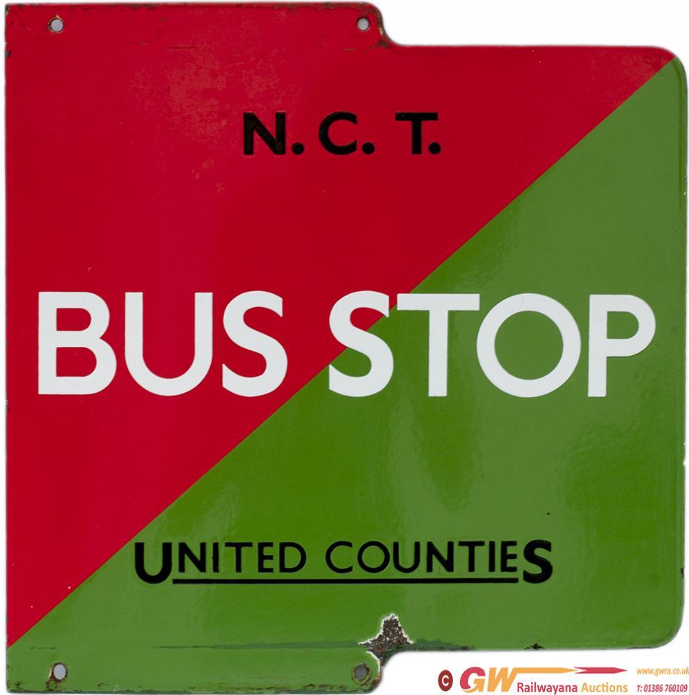 Bus Enamel Sign N.C.T/ UNITED COUNTIES BUS STOP. A