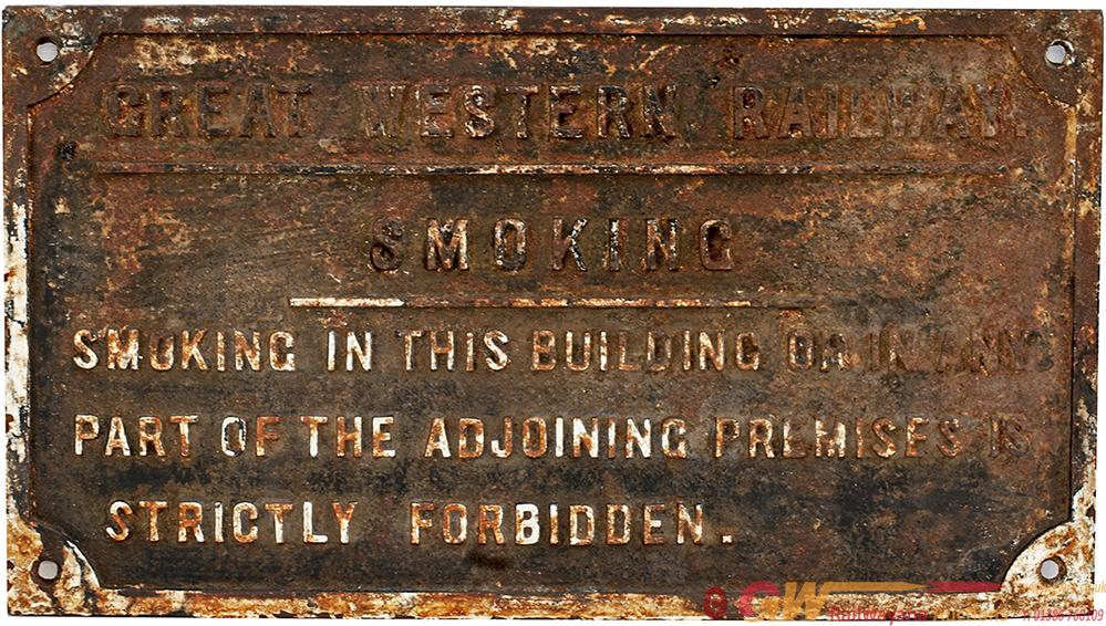 GWR Cast Iron Sign Re SMOKING IN THIS BUILDING