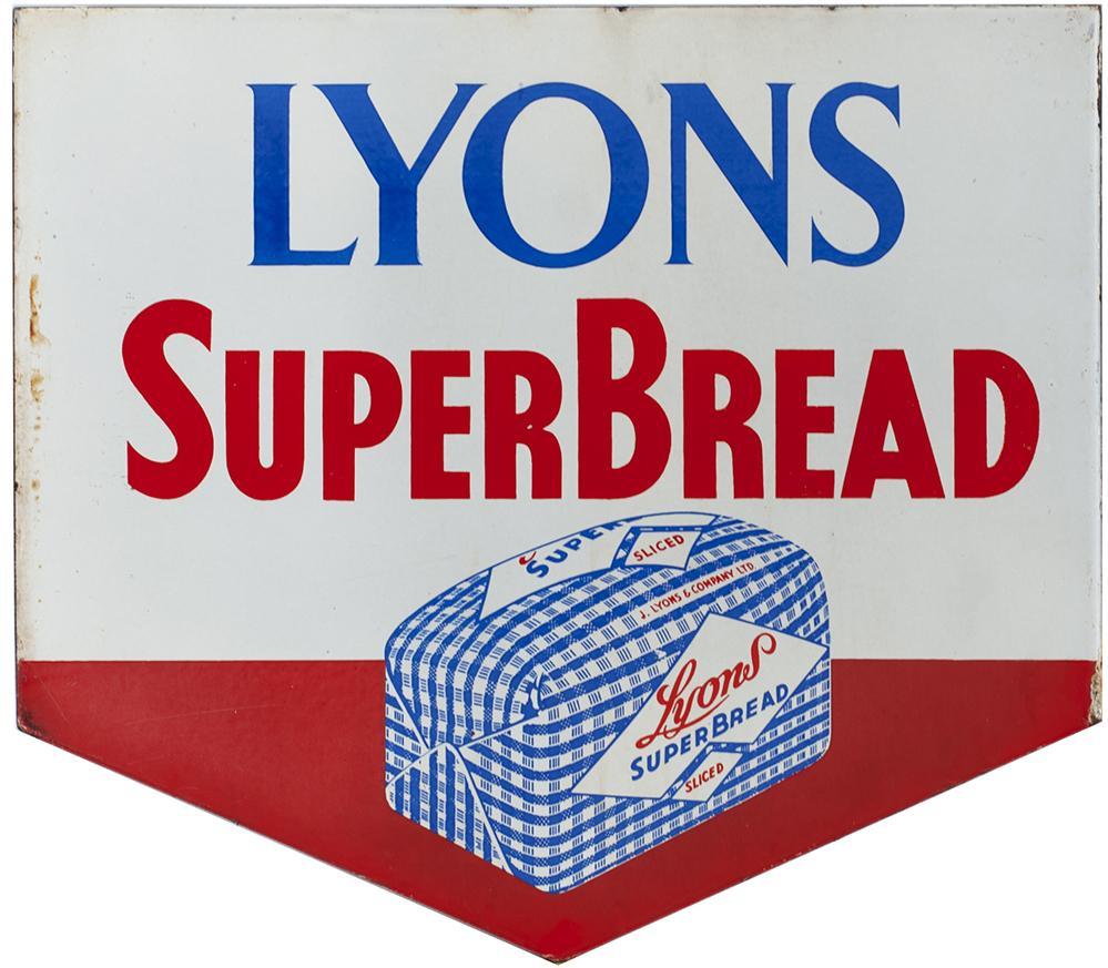Advertising Enamel Sign LYONS SUPER BREAD. Double