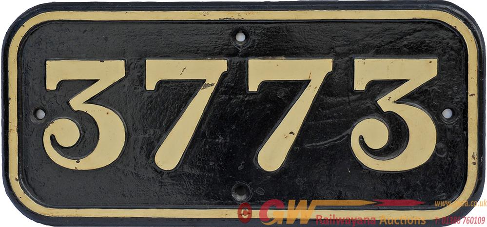 GWR Cast Iron Cabside Numberplate 3773. Ex GWR