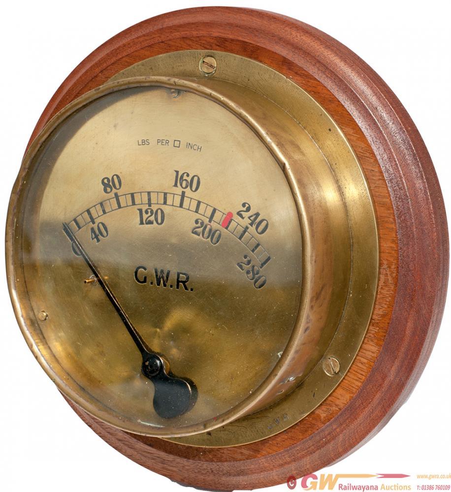 GWR Brass Locomotive Pressure Gauge Dated