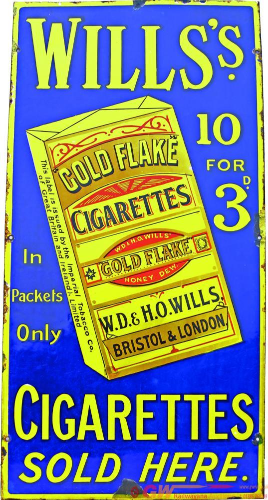 Enamel Advertising Sign 'Wills's Gold Flake