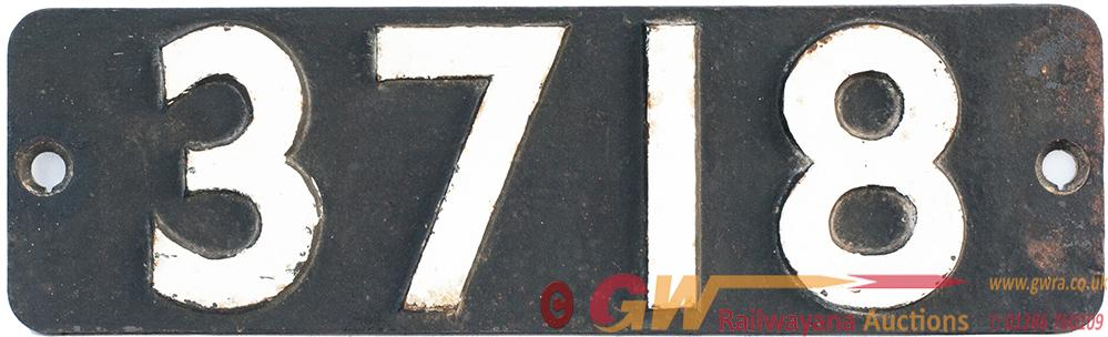 Smokebox Numberplate 3718 Ex GWR Collett 0-6-0pt