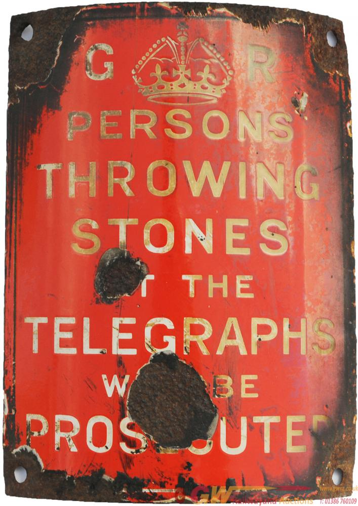 Enamel Telegraph Pole Notice 'GR Persons Throwing