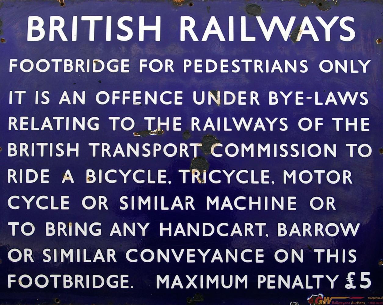 British Railways (E) Enamel Notice. Fully Titled