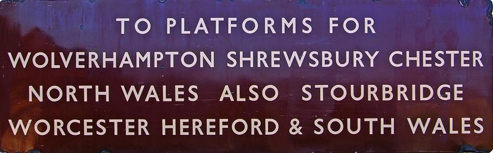 BR(W) Enamel Platform Sign, F/F, Ex Birmingham