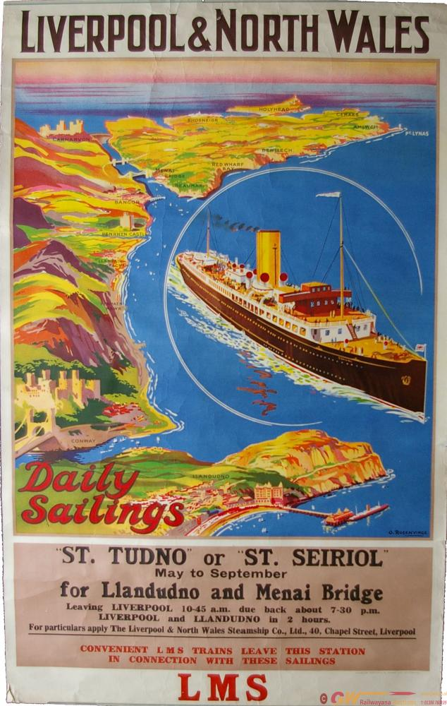 LMS Poster, D/R 'Liverpool & North Wales - Daily