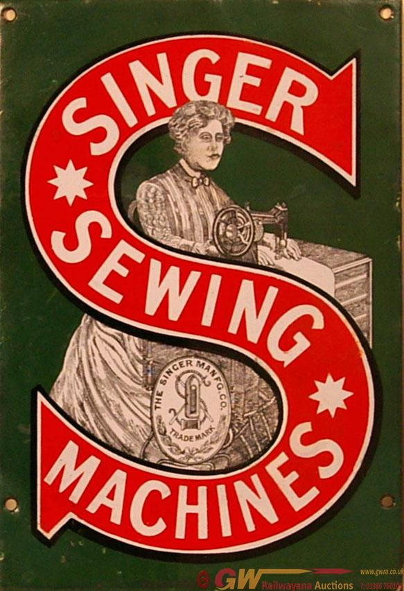 Enamel Advertising Sign, Singer Sewing Machines. A