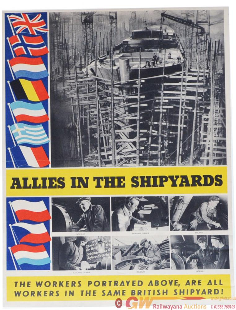 Poster WWII 'Allies In The Shipyards' 15 X 19.75
