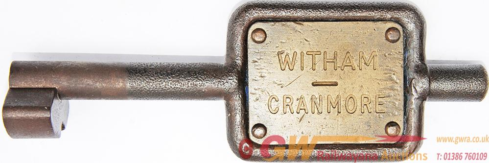 GWR Steel Single Line Key Token WITHAM - CRANMORE.