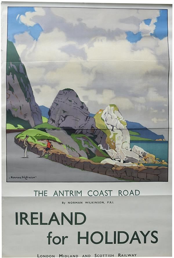LMS Poster,  'The Antrim Coast Road - Ireland For