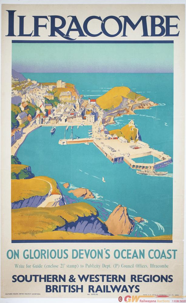 Poster BR ILFRACOMBE ON GLORIOUS DEVONS COAST By