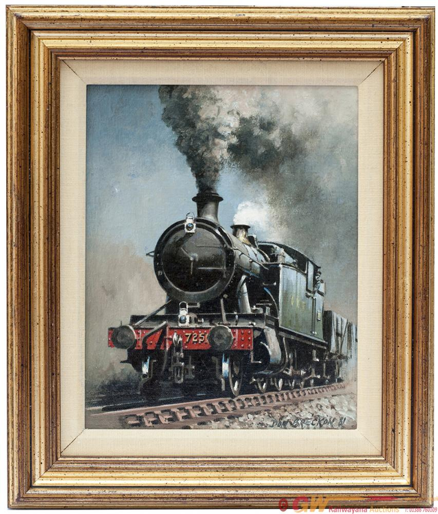 Original Oil Painting On Canvas Of GWR 7250 2-8-2t