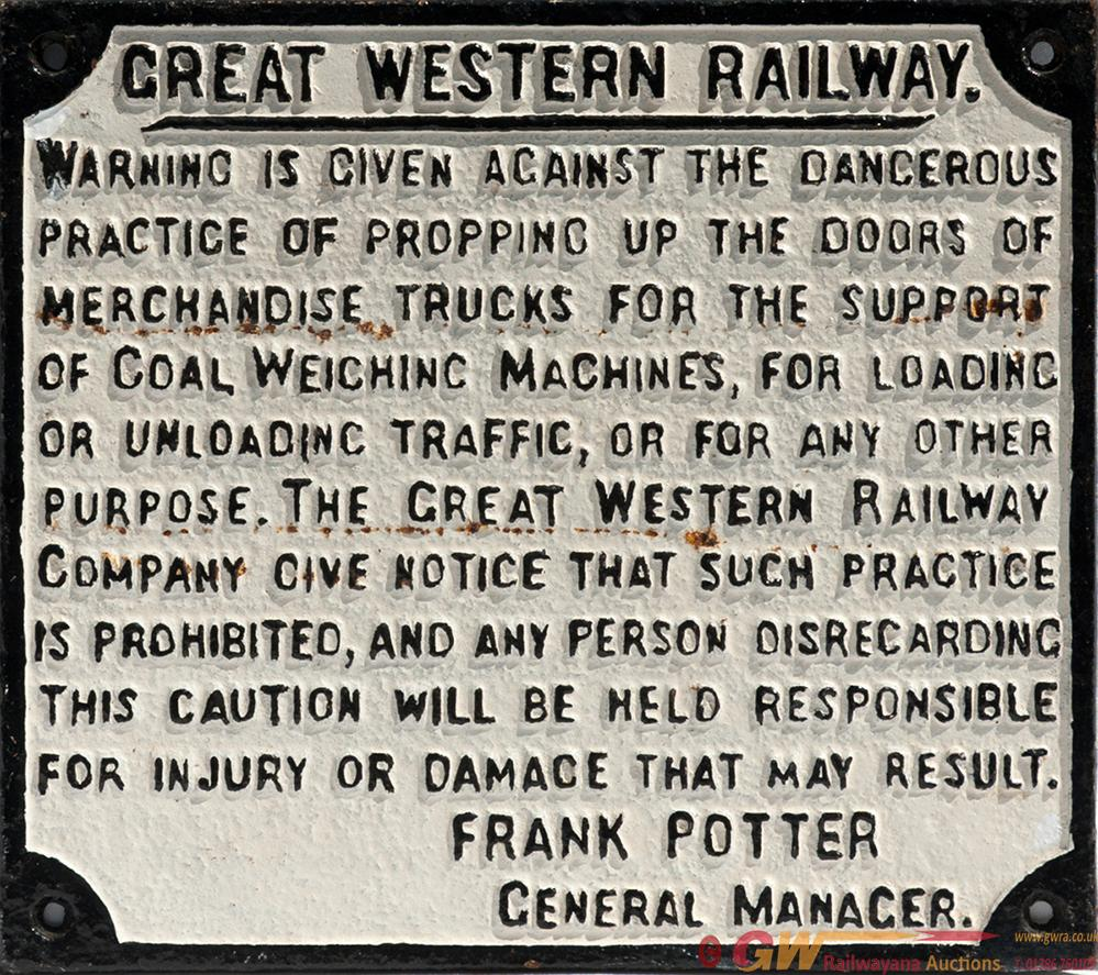 GWR Cast Iron Sign GREAT WESTERN RAILWAY PROPPING