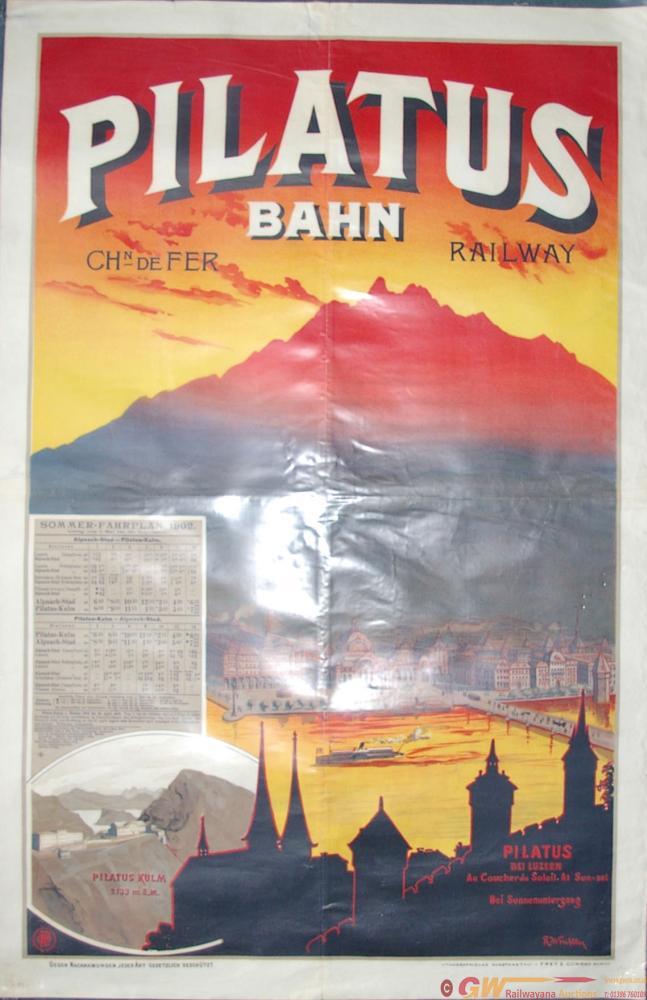 Poster, Swiss Railways 'Pilatus Bahn'. Measures 34
