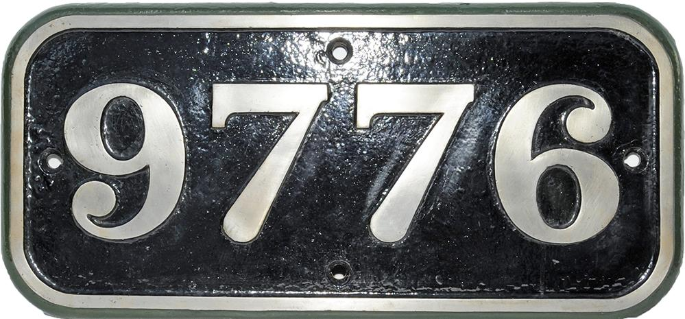 Cabside Numberplate 9776 Cast Iron. Ex 0-6-0pt