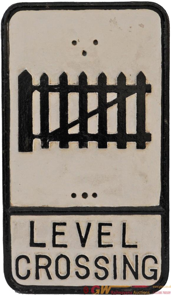 Road Sign 'LEVEL CROSSING', Cast Iron Measuring 21