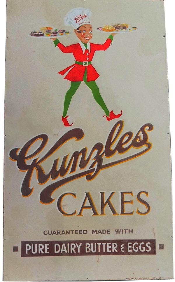 Enamel Advertising Sign 'Kunzle's Cakes'. The