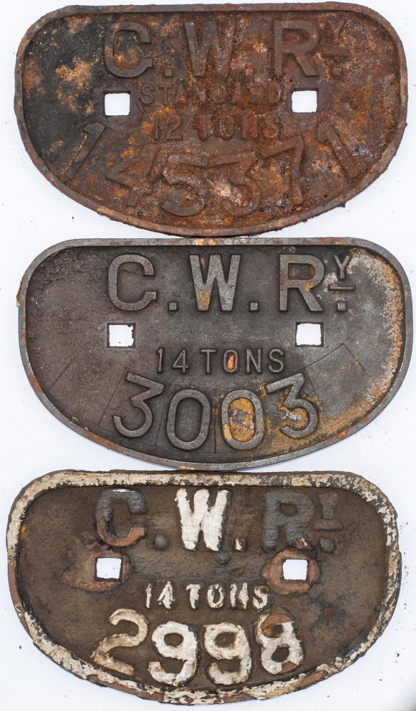 A Collection Of 3 X GWR  D Wagon Plates. 2 X 14