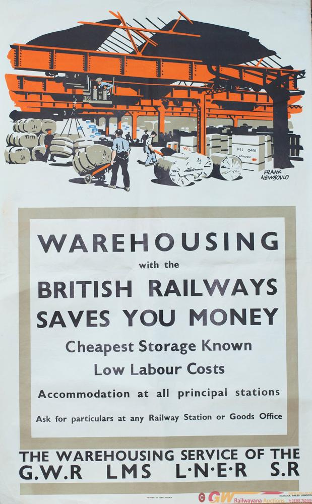 Poster GWR/LMS/LMER/SR ww2 WAREHOUSING WITH THE