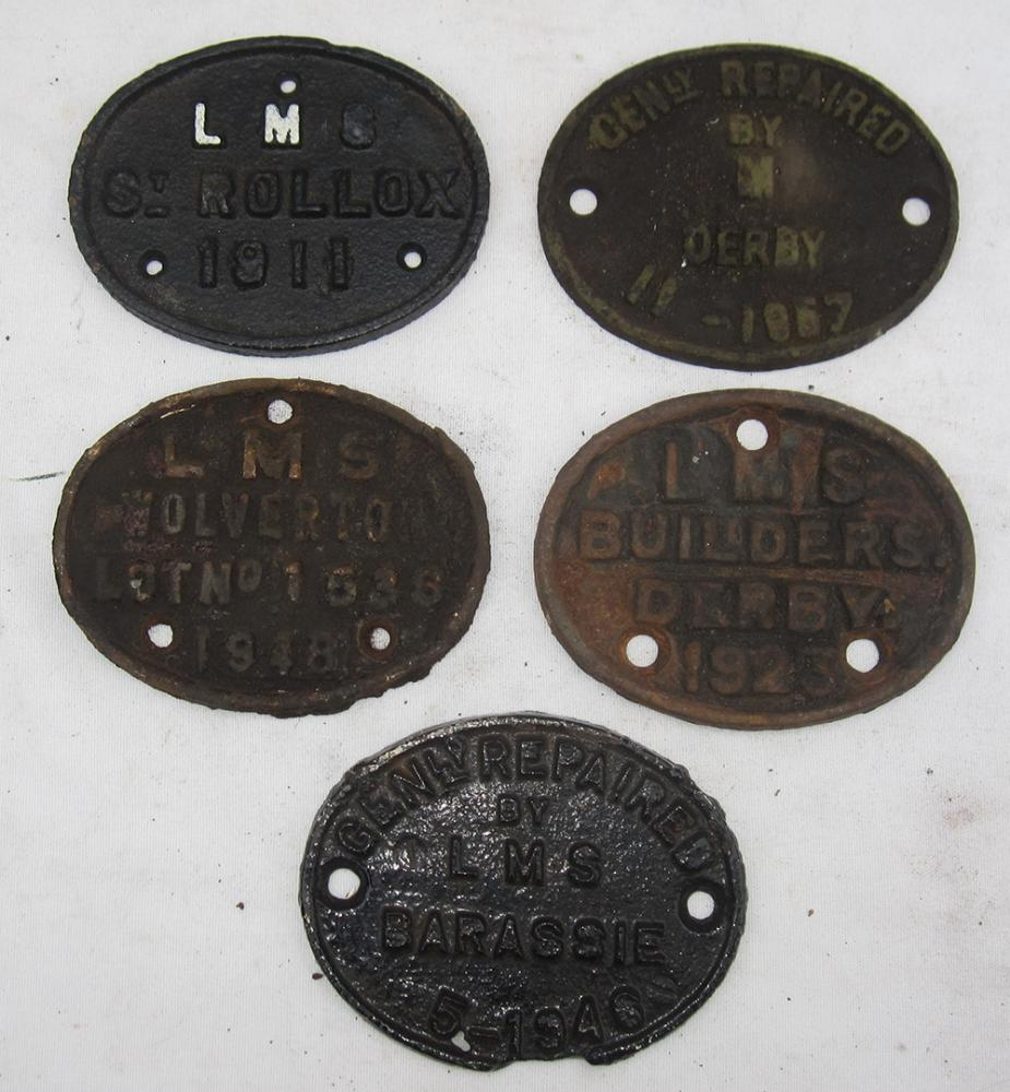 5 Repair WAGON PLATES. 4 X LMS And 1 X BR 1957.