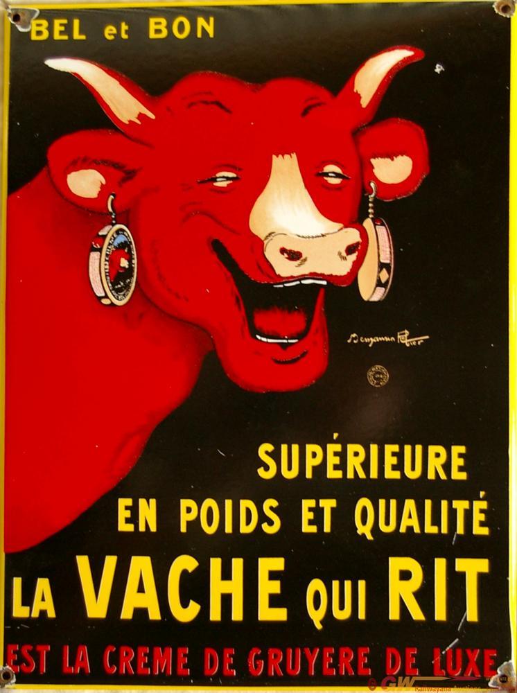 Enamel Advertising Sign 'La Vache Qui Rit' With