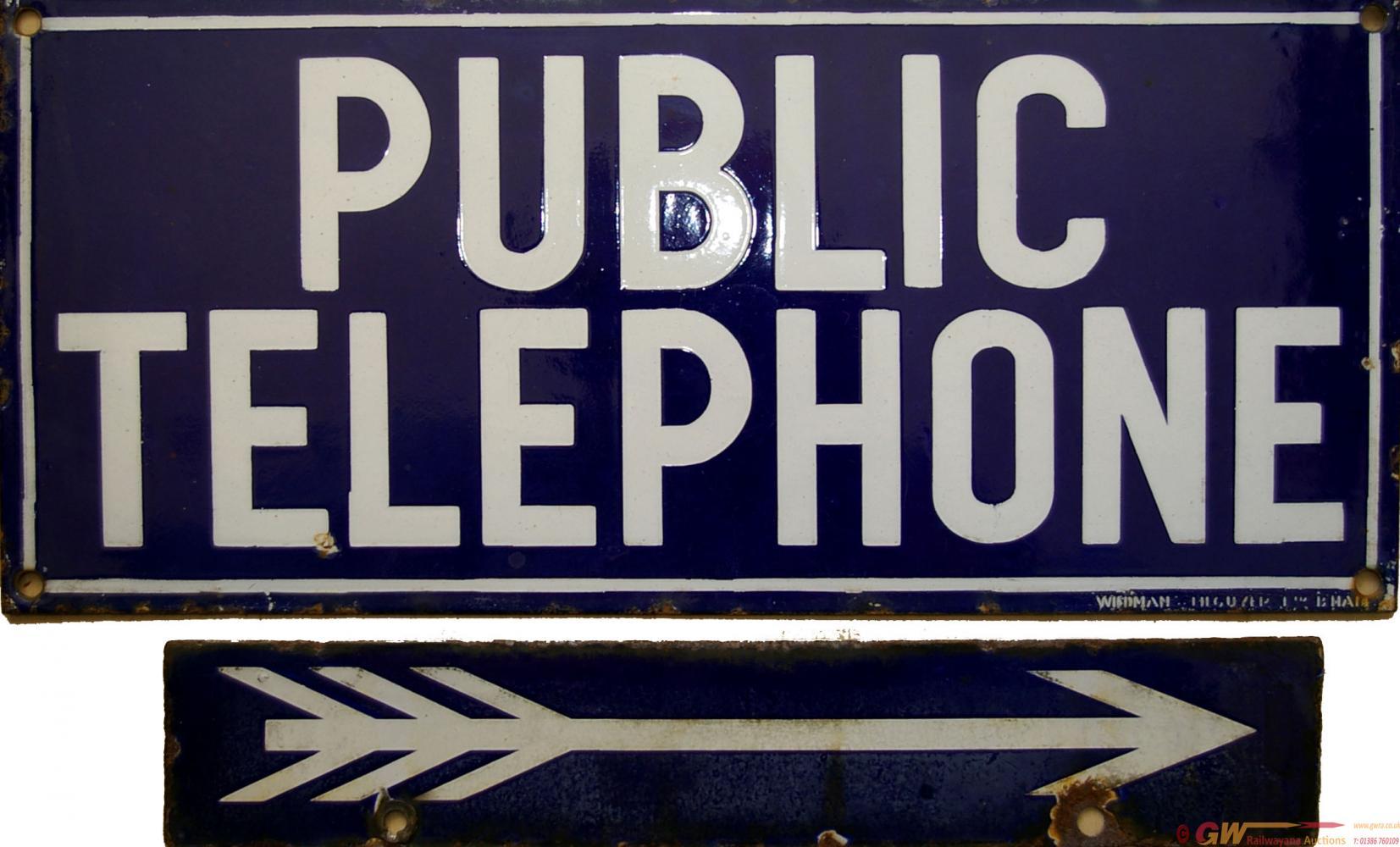 Enamel Sign PUBLIC TELEPHONE. Single Sided, White
