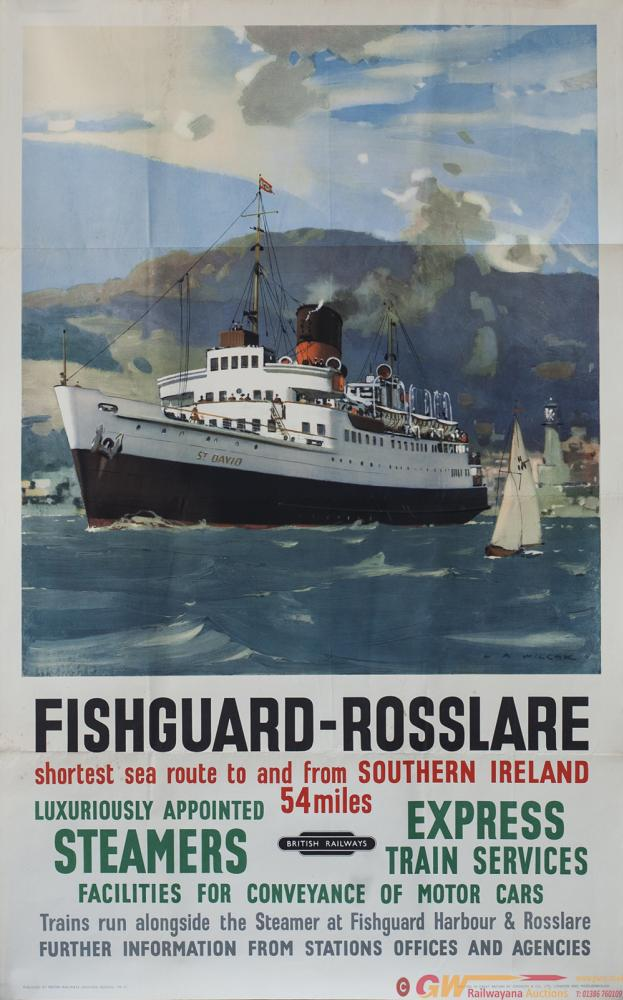 Poster BR(W) FISHGUARD - ROSSLARE By L. A. Wilcox.