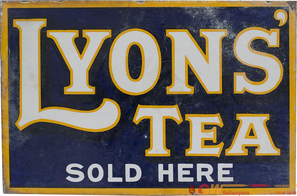 Advertising Enamel LYONS' TEA SOLD HERE, Double