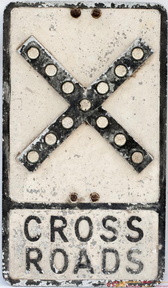 Road Motoring Sign CROSS ROADS. Cast Aluminium