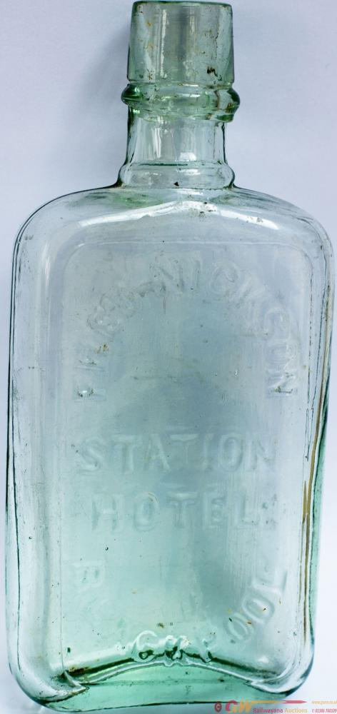Glass Whiskey Flask From The FRED NICKSON STATION