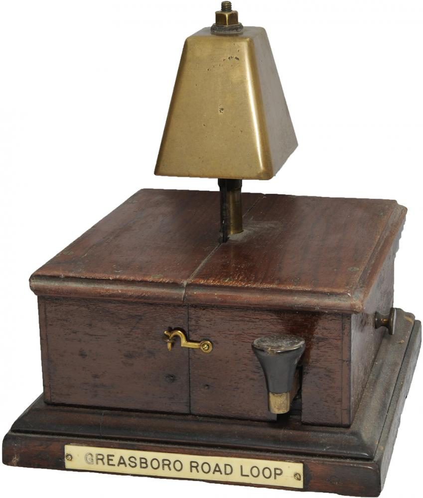 GCR Mahogany Cased Block Bell With Offset Tapper.