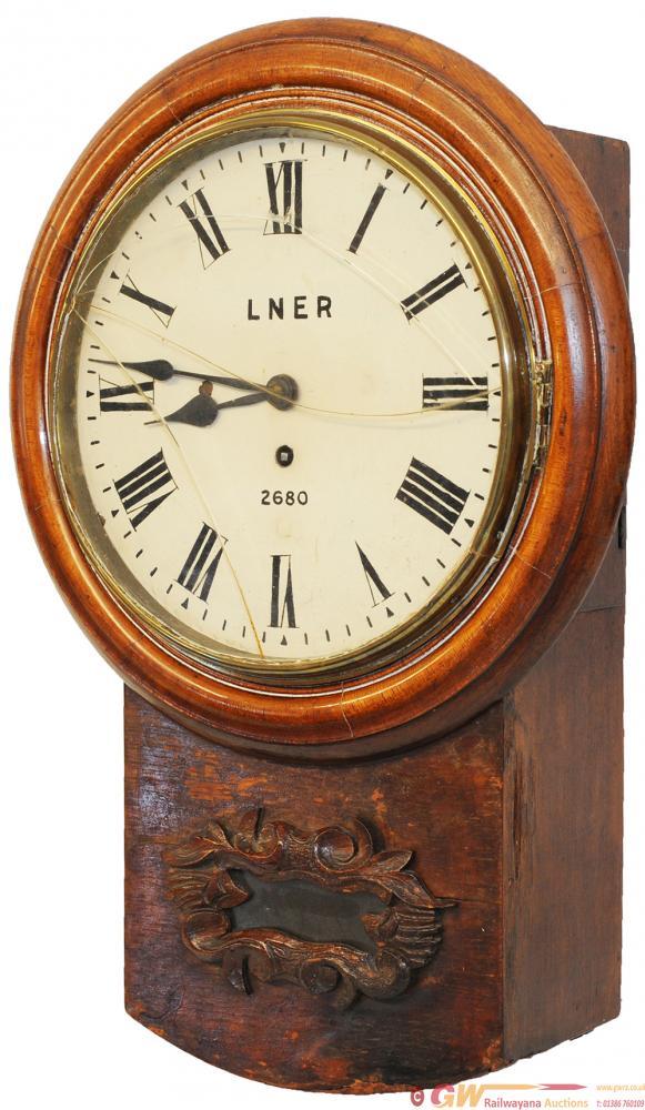 NER 10inch Oak Cased Drop Dial Fusee Clock.