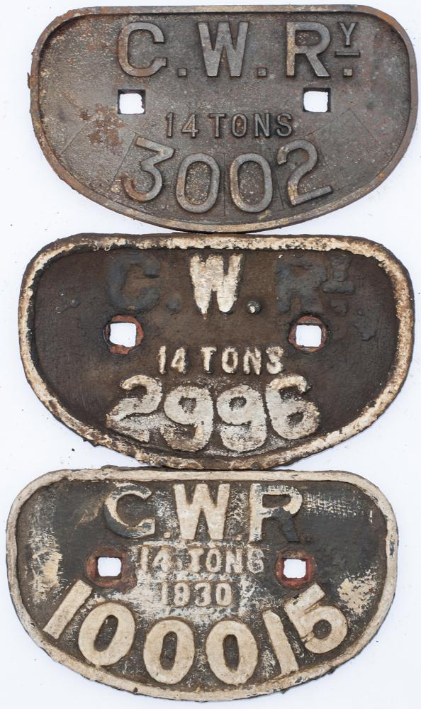 A Collection Of 3 X GWR  D Wagon Plates. 3 X 14