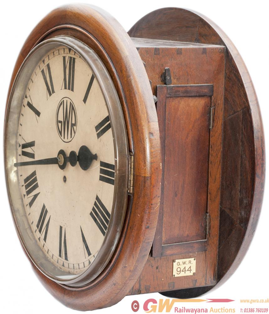 GWR Mahogany Cased 18inch Double Dial Railway