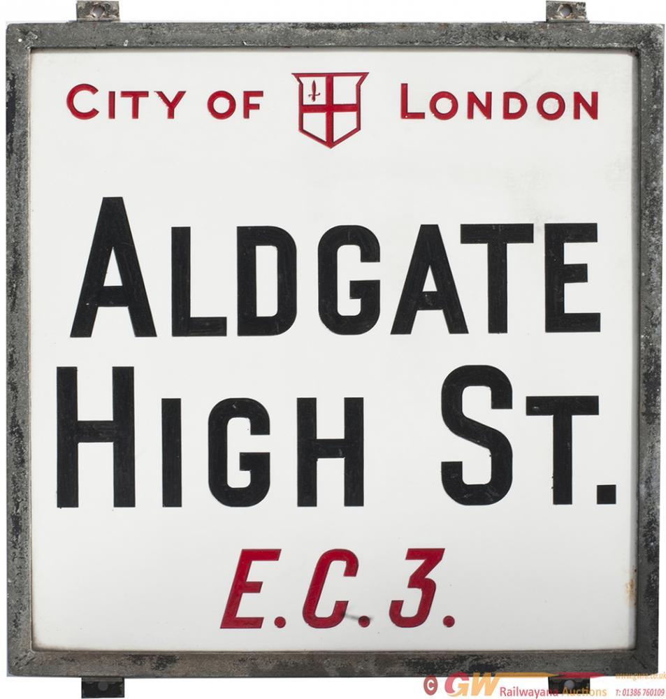 Motoring Road Street Sign CITY OF LONDON ALDGATE