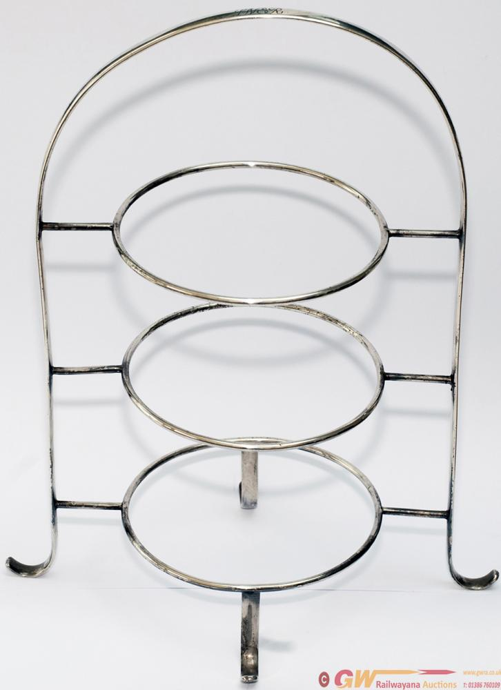 LNER Silverplate 3 Tier Cake Plate Stand Nicely