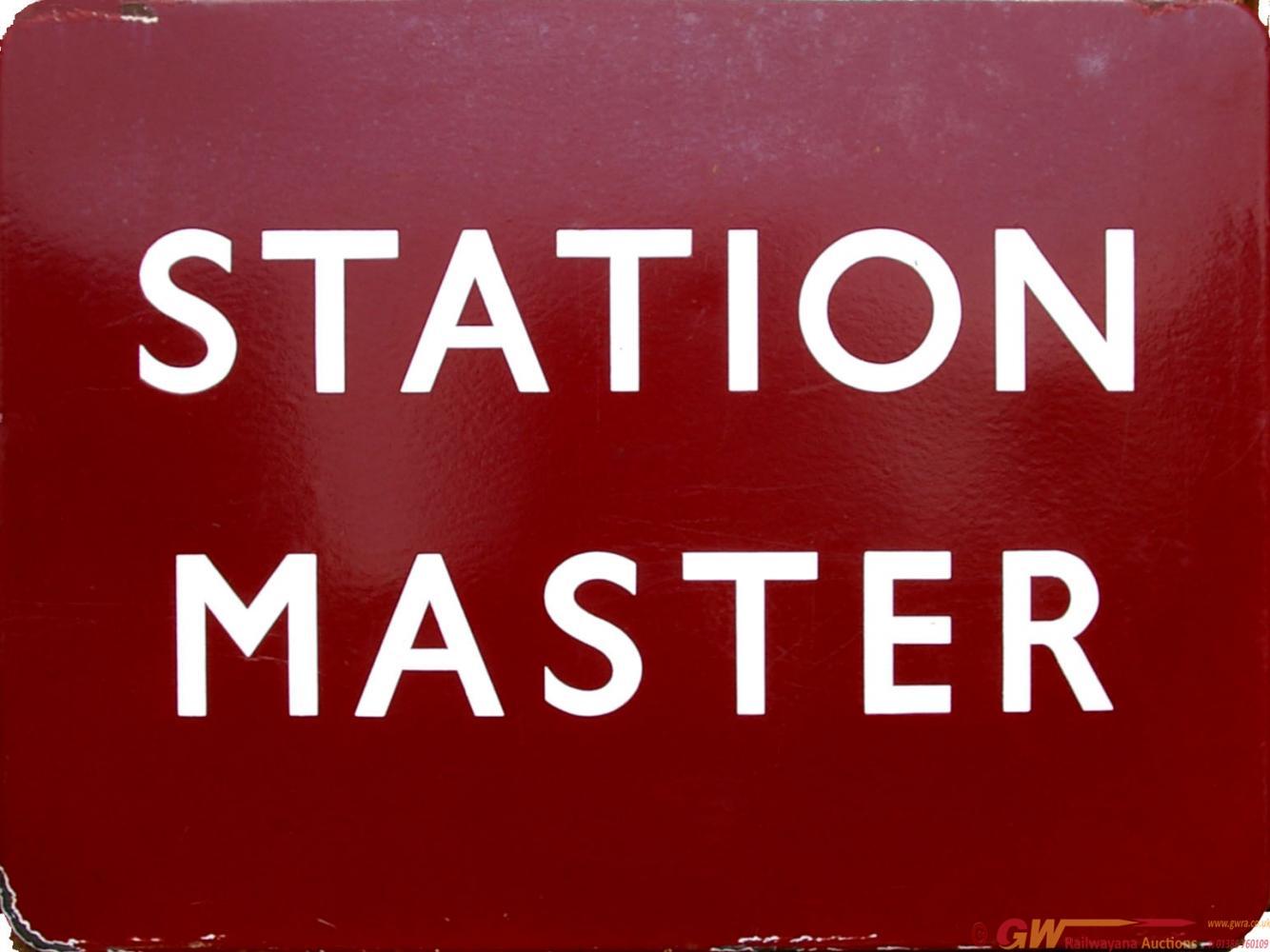 BR(M) Enamel Platform Sign STATION MASTER, F/F