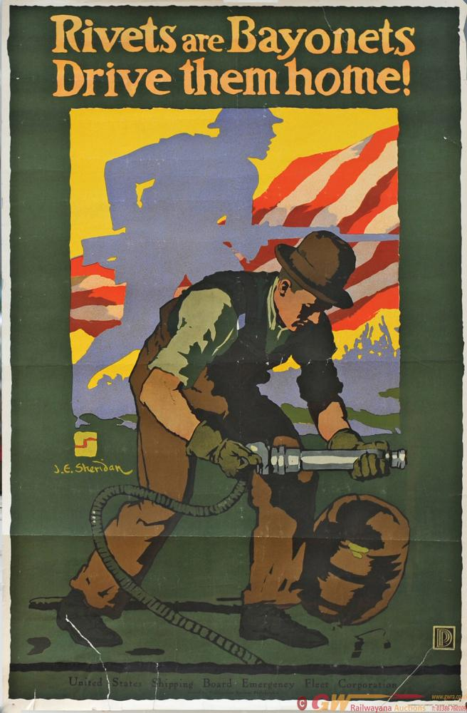 Poster, ww2 'Rivets Are Bayonets Drive Them Home'