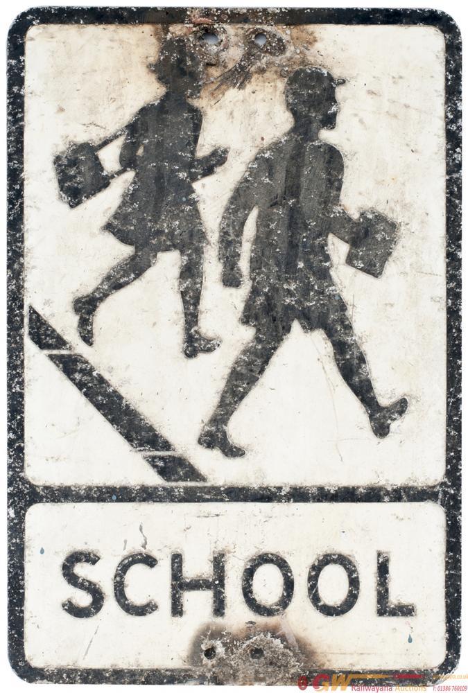 Road Sign SCHOOL, Pressed Aluminium. In Original