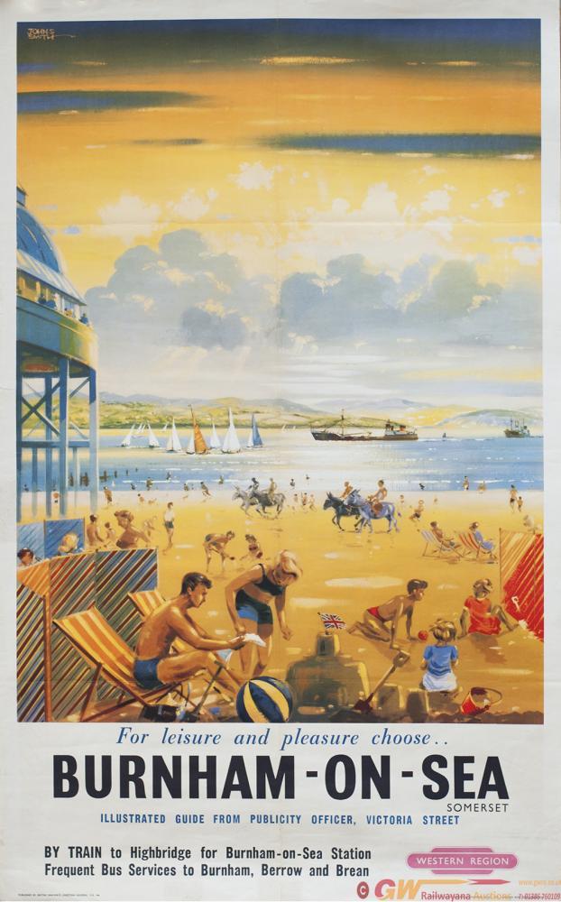Poster BR(W) BURNHAM-ON-SEA By John S. Smith.