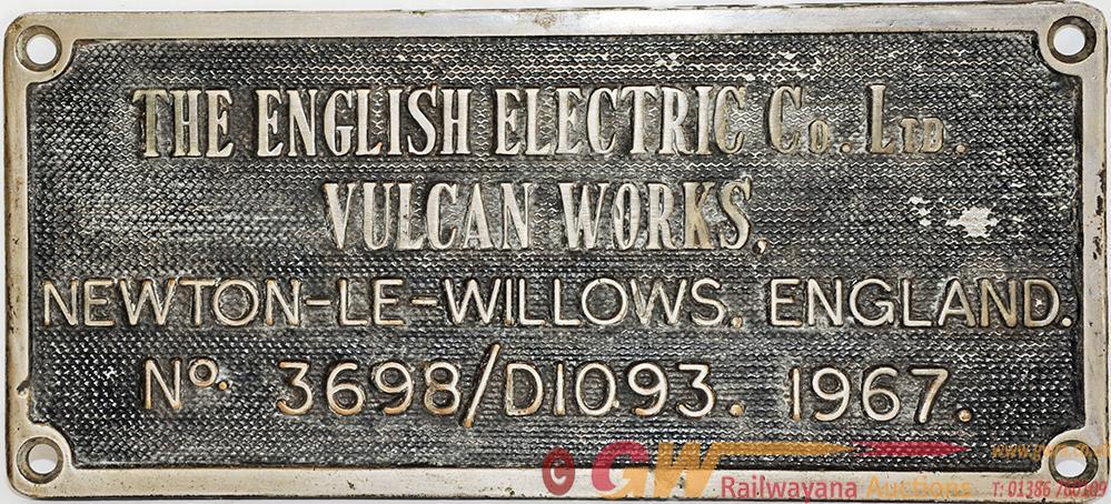Worksplate 'The English Electric Co Ltd Vulcan