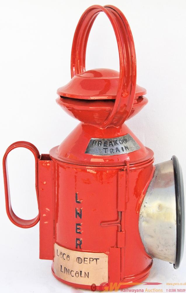 LNER Red Painted Handlamp Bearing A Brass Plate