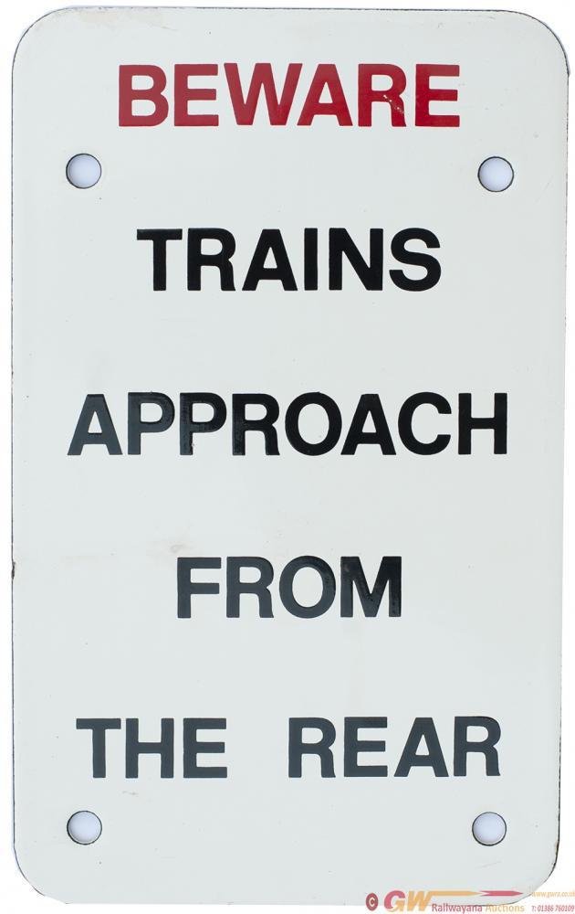 British Railways Enamel Sign BEWARE TRAINS