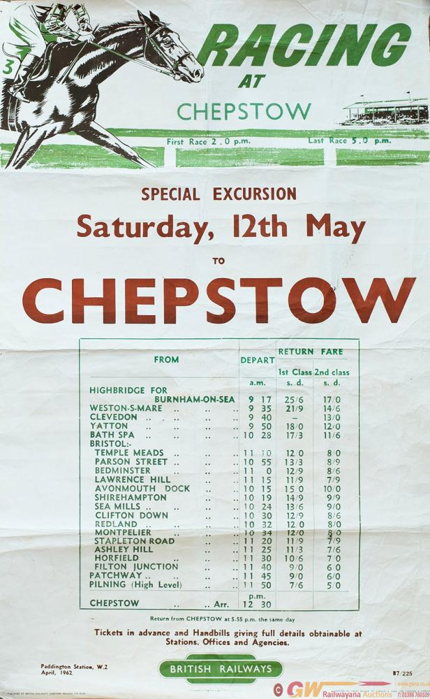 Poster BR RACING AT CHEPSTOW 1962. Timetable Below